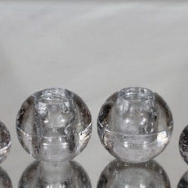 Iittala Arkipelago kynttilänjalat, kirkas, 4 kpl, suunnittelija Timo Sarpaneva, massiivinen, palloprofiili