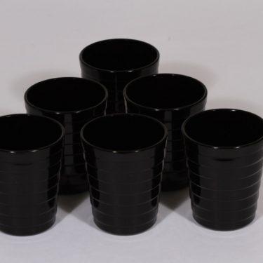 Iittala lasit, musta, 6 kpl, suunnittelija Aino Aalto,