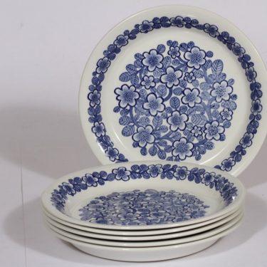 Arabia Kullervo lautaset, sininen, 6 kpl, suunnittelija , serikuva, kukka-aihe
