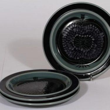 Arabia Kosmos lautaset, sininen, 3 kpl, suunnittelija Gunvor Olin-Grönqvist, puhalluskoriste