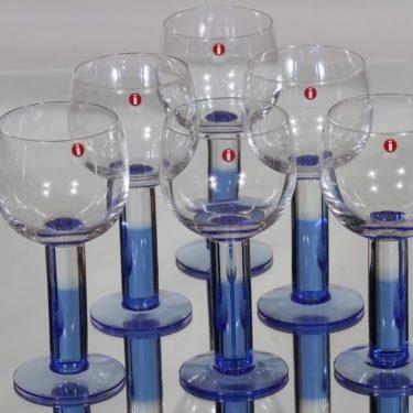 Nuutajärvi Mondo lasit, 27 cl, 6 kpl, suunnittelija Kerttu Nurminen, 27 cl, sininen jalka