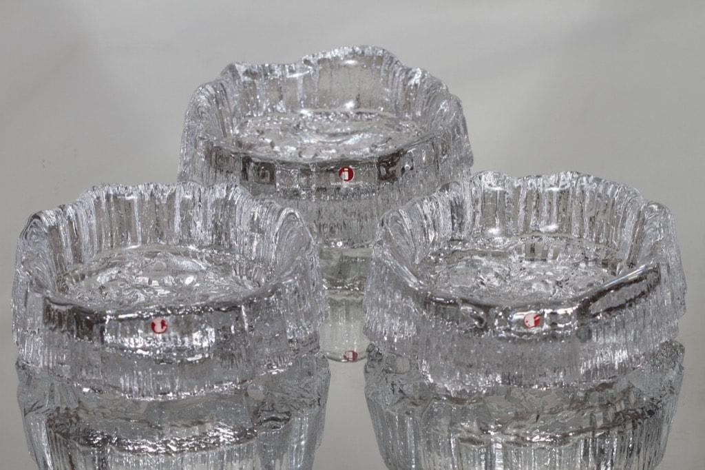 Iittala Seita kynttilänaluset, kirkas, 3 kpl, suunnittelija Tapio Wirkkala,