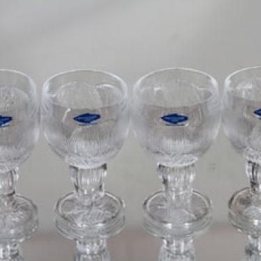 Nuutajärvi Pioni lasit, 6 cl, 4 kpl, suunnittelija Oiva Toikka, 6 cl