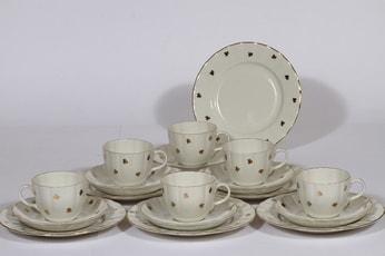 Arabia Hippu kahvikupit ja leivoslautaset, 6 kpl, suunnittelija , kullattu