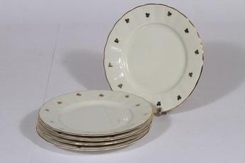 Arabia Hippu leivoslautaset, 5 kpl, suunnittelija , kullattu