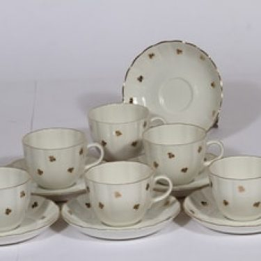 Arabia Hippu kahvikupit, 6 kpl, suunnittelija , leimakoriste, kullattu