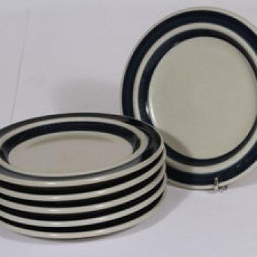 Arabia Anemone leivoslautaset, käsinmaalattu, 6 kpl, suunnittelija Ulla Procope, käsinmaalattu