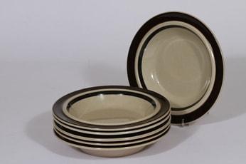 Arabia Ruija syvät lautaset, käsinmaalattu, 6 kpl, suunnittelija Raija Uosikkinen, käsinmaalattu, pieni