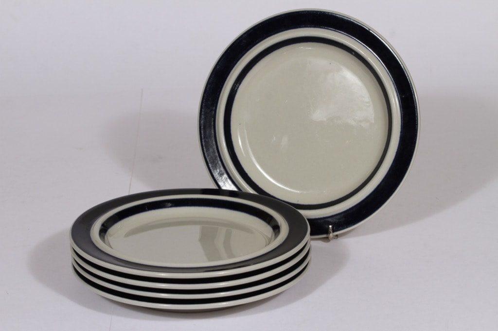 Arabia Anemone lautaset, käsinmaalattu, 5 kpl, suunnittelija Ulla Procope, käsinmaalattu, pieni