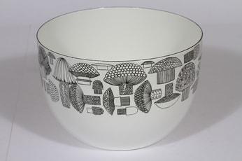 Finel Tatti kulho, valkoinen, suunnittelija Esteri Tomula, serikuva, sieniaihe