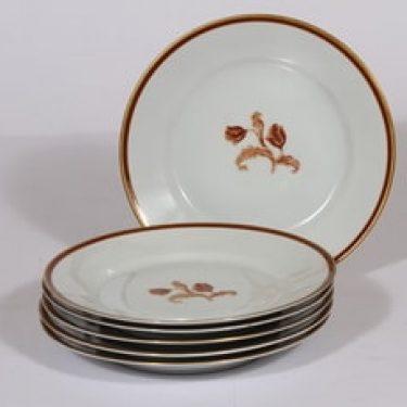 Arabia koriste numero 3314 lautaset, 6 kpl, suunnittelija , serikuva, kukka-aihe, kullattu
