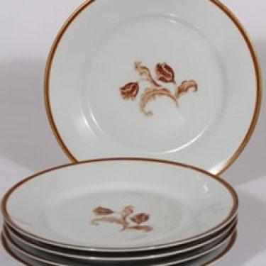 Arabia koriste numero 3314 lautaset, 5 kpl, suunnittelija , serikuva, kukka-aihe, kullattu