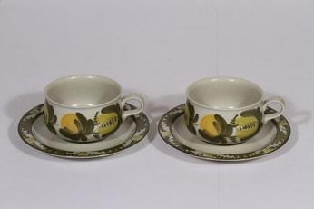 Arabia PW teekupit, käsinmaalattu, 2 kpl, suunnittelija Raija Uosikkinen, käsinmaalattu, signeerattu