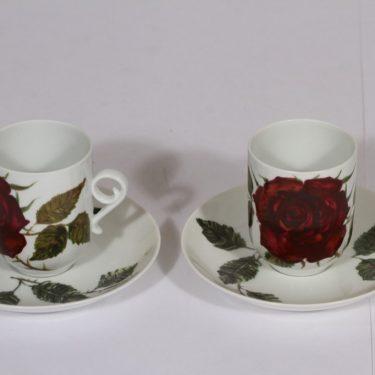 Arabia Ruusu kahvikupit, 2 kpl, suunnittelija , serikuva