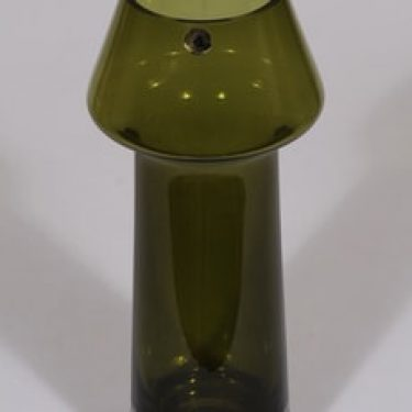 Riihimäen lasi Stomboli maljakko, oliivinvihreä, suunnittelija Aimo Okkolin,