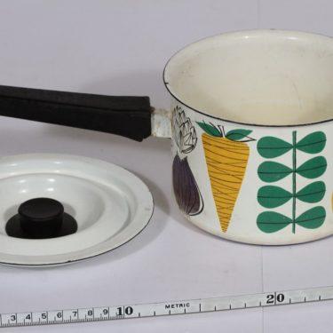Finel Vegeta kasari, 1 l, suunnittelija Esteri Tomula, 1 l, serikuva, vihannesaihe, retro kuva 2