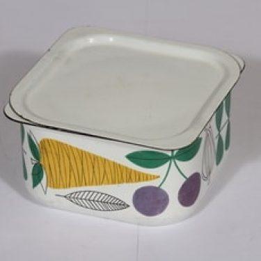 Finel Vegeta jääkaappirasia, suunnittelija Esteri Tomula, serikuva, vihannesaihe, retro