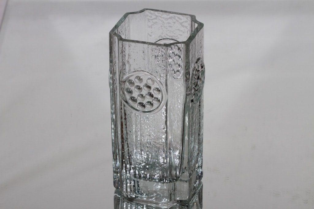 Riihimäen lasi Rondella maljakko, kirkas, suunnittelija Tamara Aladin,