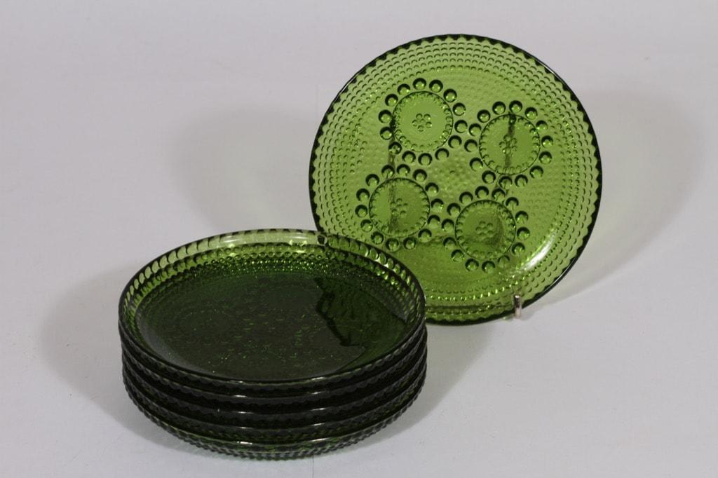 Riihimäen lasi Grapponia lautaset, vihreä, 6 kpl, suunnittelija Nanny Still, pieni