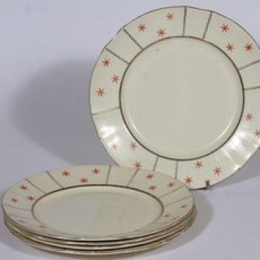 Arabia Viktoria lautaset, matala, 5 kpl, suunnittelija , matala, painokoriste, art deco