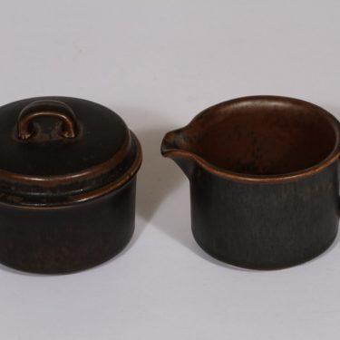 Arabia Ruska sokerikko ja kermakko, ruskea lasite, suunnittelija Ulla Procope,