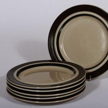 Arabia Ruija lautaset, ruskea, 6 kpl, suunnittelija Raija Uosikkinen, pienet, käsin maalattu