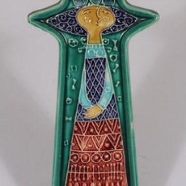 Kupittaan savi seinälaatta, käsinmaalattu, suunnittelija Gudrun Raunio, käsinmaalattu, signeerattu