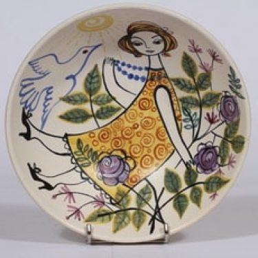 Kupittaan savi koristekulho, käsinmaalattu, suunnittelija Laila Zink, käsinmaalattu, signeerattu, naisaihe, mattalasite