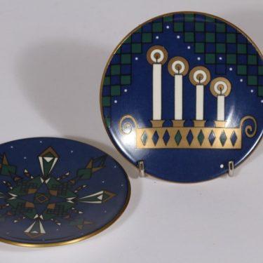 Arabia koristelautaset, Joulukortti, 2 kpl, suunnittelija , Joulukortti, pieni, serikuva