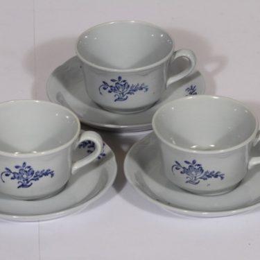 Arabia S 877 kahvikupit, sininen, 3 kpl, suunnittelija , kuparipainokoriste