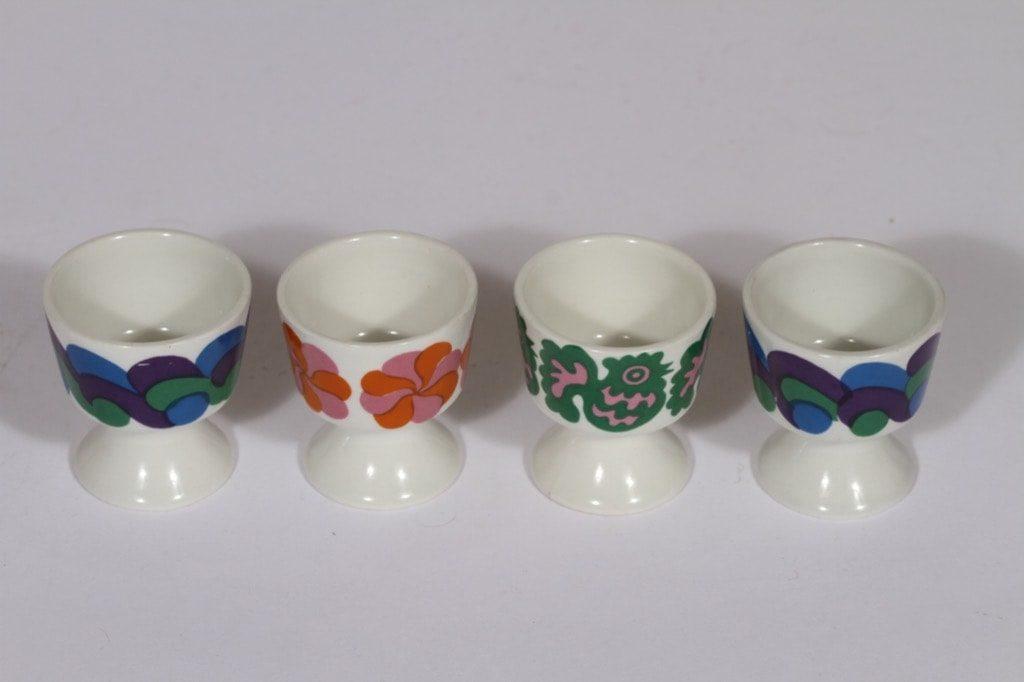 Arabia eri koristeita munakupit, 4 kpl, suunnittelija , serikuva, retro