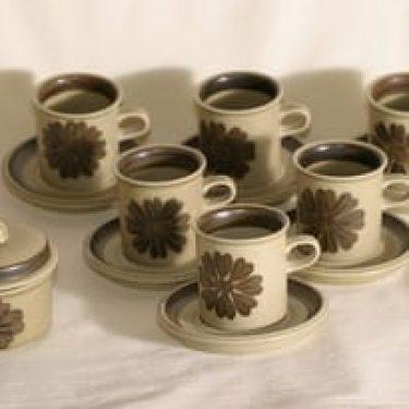 Arabia Tunturi kahviastiasto 6:lle, käsinmaalattu, suunnittelija Olga Osol, käsinmaalattu