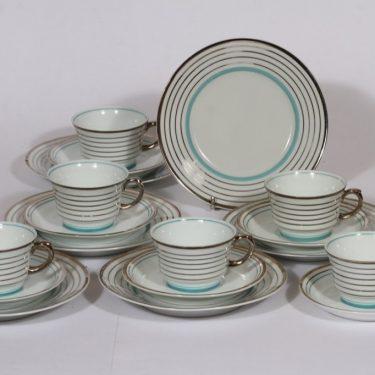 Arabia Raitahopea kahvikupit ja lautaset, 6 kpl, suunnittelija , raitakoriste, art deco