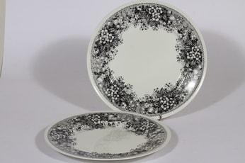 Arabia Talvikki lautaset, matala, 2 kpl, suunnittelija Raija Uosikkinen, matala, serikuva, kukka-aihe