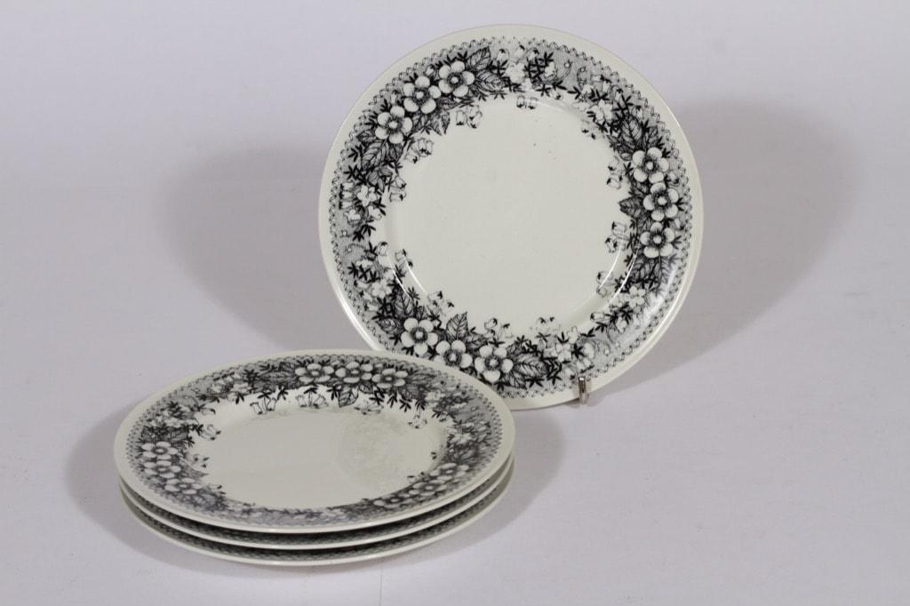 Arabia Talvikki lautaset, matala, 4 kpl, suunnittelija Raija Uosikkinen, matala, pieni, serikuva, kukka-aihe