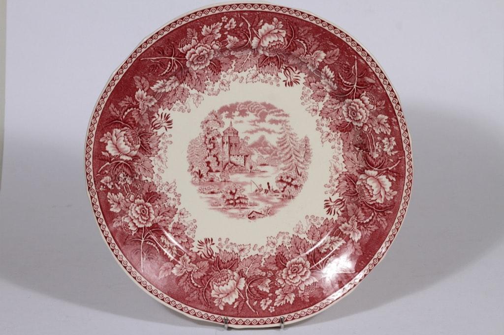 Arabia Maisema vati, punainen, suunnittelija , suuri, pyöreä, kuparipainokoriste