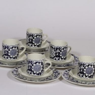 Arabia Gardenia kahvikupit ja leivoslautaset, 5 kpl, suunnittelija Esteri Tomula, serikuva