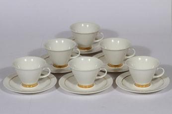Arabia Harlekin Gold kahvikupit, valkoinen, 6 kpl, suunnittelija Inkeri leivo, kultaraita