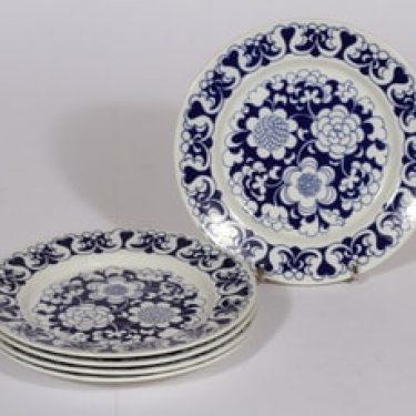 Arabia Gardenia leivoslautaset, sininen, 5 kpl, suunnittelija Esteri Tomula, serikuva