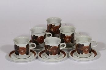 Arabia Rosmarin kahvikupit, 16 cl, 6 kpl, suunnittelija Ulla Procope, 16 cl, käsinmaalattu, signeerattu