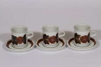 Arabia Rosmarin kahvikupit, 16 cl, 3 kpl, suunnittelija Ulla Procope, 16 cl, käsinmaalattu, signeerattu