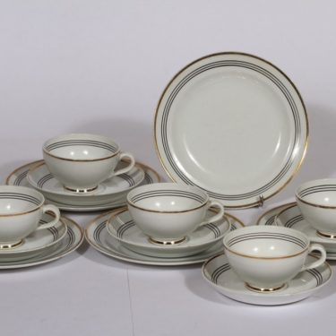 Arabia Minerva kahvikupit ja lautaset, 5 kpl, suunnittelija , raitakoriste