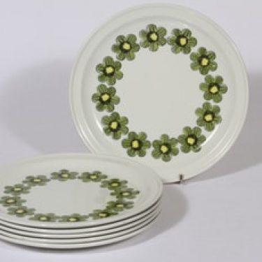 Arabia Primavera lautaset, matala, 6 kpl, suunnittelija Esteri Tomula, matala, serikuva, kukka-aihe, retro