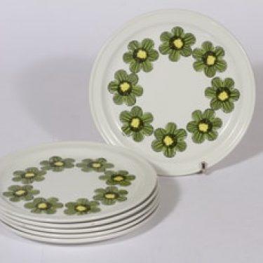 Arabia Primavera lautaset, pieni, 6 kpl, suunnittelija Esteri Tomula, pieni, serikuva, kukka-aihe, retro