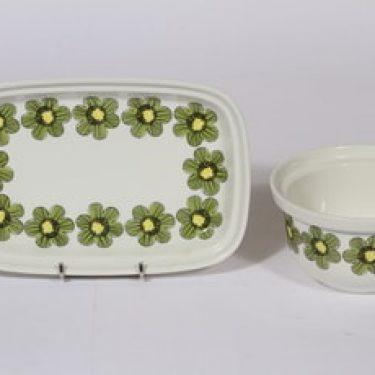 Arabia Primavera kulho ja vati, suunnittelija Esteri Tomula, pieni, serikuva, kukka-aihe