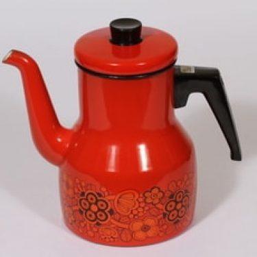 Finel Primavera kahvipannu, punainen, suunnittelija Raija Uosikkinen, serikuva, retro