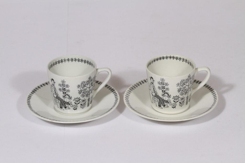 Arabia Emilia kahvikupit, mustavalkoinen, 2 kpl, suunnittelija , kuparipainokoriste