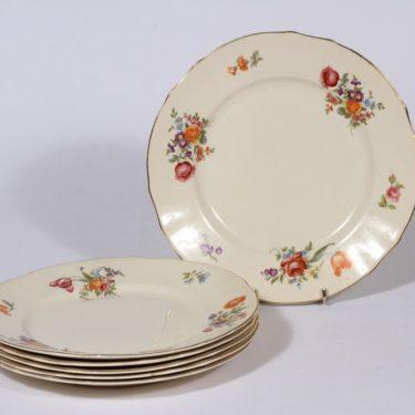 Arabia Kesäkukka lautaset, matala, 6 kpl, suunnittelija , matala, siirtokuva, kukka-aihe