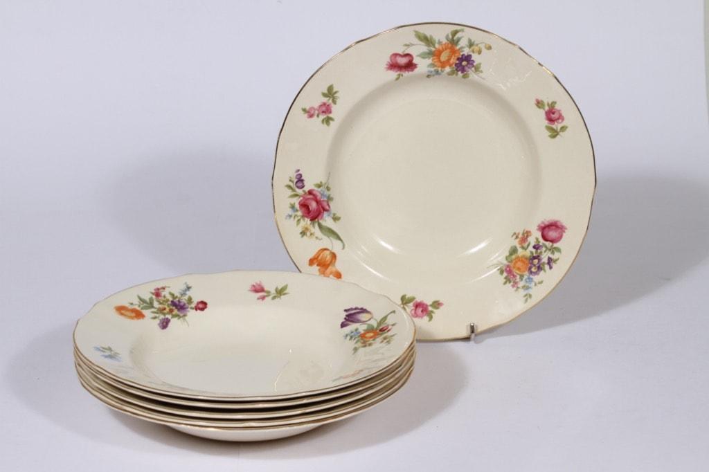 Arabia Kesäkukka lautaset, syvä, 6 kpl, suunnittelija , syvä, siirtokuva, kukka-aihe