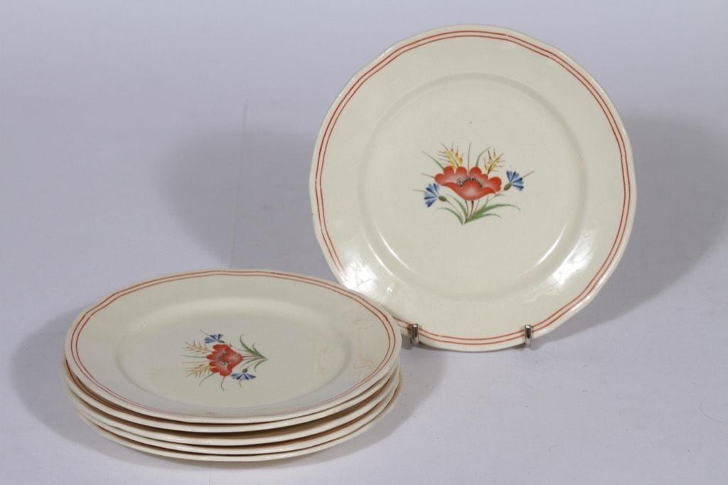 Arabia Kesä lautaset, 6 kpl, suunnittelija , pieni, siirtokuva, kukka-aihe